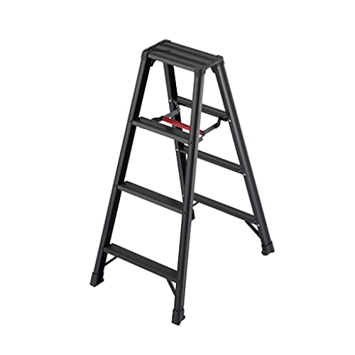 YHYH Scaletta dei Piccoli Gradini 2 3 4 5 Gradini Scala La Scala Nera di Alluminio con Antiscivolo Robusto Pedale Pieghevole Step (Color : 4 Steps Ladder)