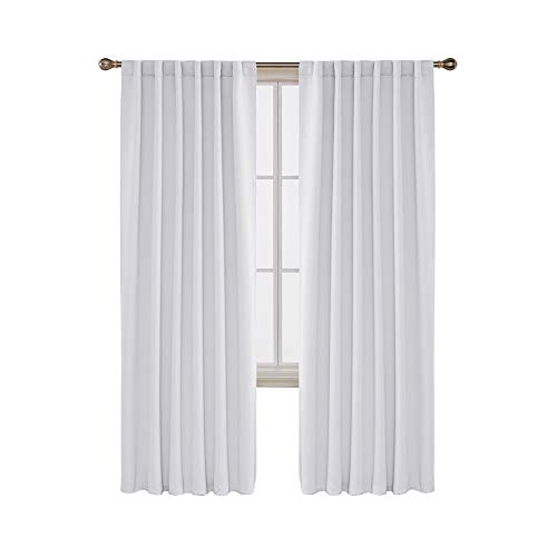 Deconovo Solid Back Tab Curtains Blackout Curtains Thermal Insulated Drapes and Curtains Room Darkening Curtains for Bedroom 52x95 Inch Greyish White 1 Set