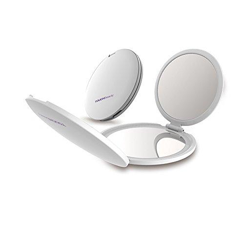 TOUCHBeauty TB-1471 Mini miroir de voyage pliable à 3 panneaux Grossissement 1x 2x 5x Ultra-transparent Portable