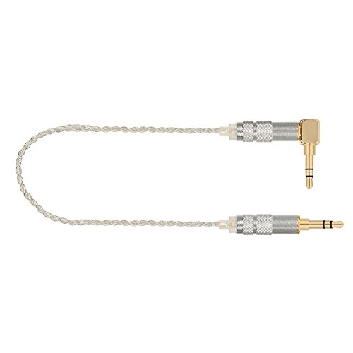 KINDEN Professional 3.5mm Male to Male Stereo Auxiliary Audio Cable Silver Plated OCC OFC Braided AUX Cable for Headphones, iPods, iPhones, iPads, Home/Car Stereos and More (1.6ft, Silver)