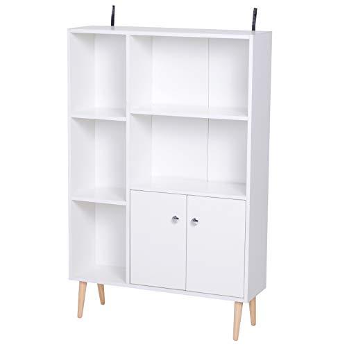 homcom Libreria Scaffale Design Moderno Salvaspazio con 2 Porte da Salotto Pannelli di Particelle 80 x 23.5 x 123cm Bianco