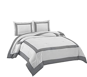 Carlton 3-Piece Hotel Style Square Framed Bedding Comforter Set  Queen White/Gray