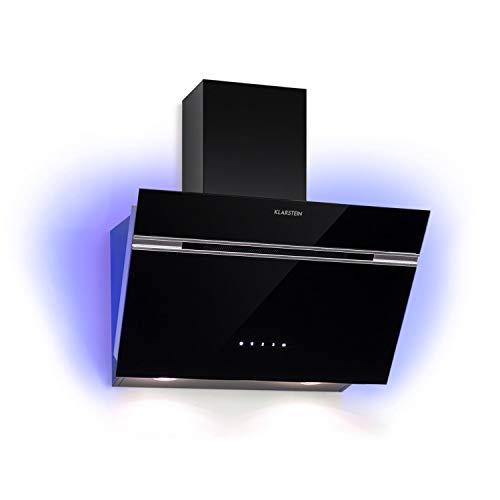 KLARSTEIN Alina - Hotte aspirante, 600 m³/h, 3 niveaux, classe A, lumière ambiante RGB, fonctionnement air évacué/air recyclé, tactile, éclairage LED, façade vitrée, 60cm - noir