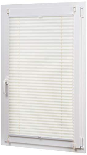 Amazon Basics - Estor enrollable plisado, de tela de poliéster color liso, con sistema de clips, 80 x 130 cm, Crema