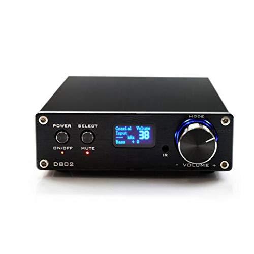 YUEC Amplificador de Potencia Remoto Digital, FX Audio D802 2x80W, Soporte inalámbrico Bluetooth 4.2, Cable USB, convertidor analógico a Digital con Amplificador de Auriculares,A