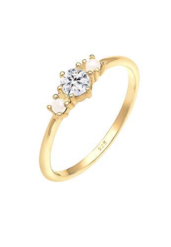 Elli Ring Damen Bandring Perle mit Swarovski Kristall in 925 Sterling Silber