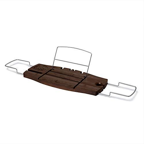 Umbra 020390-656 Aquala Bathtub Caddy Bamboo Extendable and Adjustable Tray Holder, 68.960999999999999 x 22.225000000000001 x 2.0070000000000001 cm, Walnut Finish