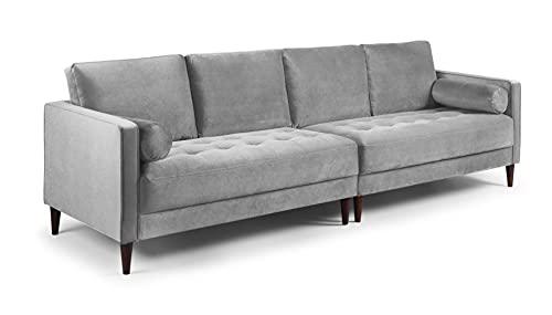 Honeypot - Harper - Sofa - 4 Seater - 3 Seater - 2 Seater - Armchair - Blue - Beige - Plush Grey - Green - Plush Velvet (4 Seater, Grey)