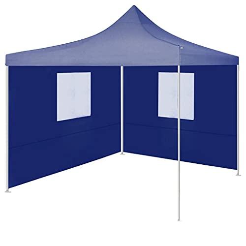 vidaXL Tente de Réception Pliable avec 2 Parois Tonnelle d'Extérieur Chapiteau de Jardin Belvédère Voyage de Camping Barbecue Mariage 2x2 m Acier Bleu