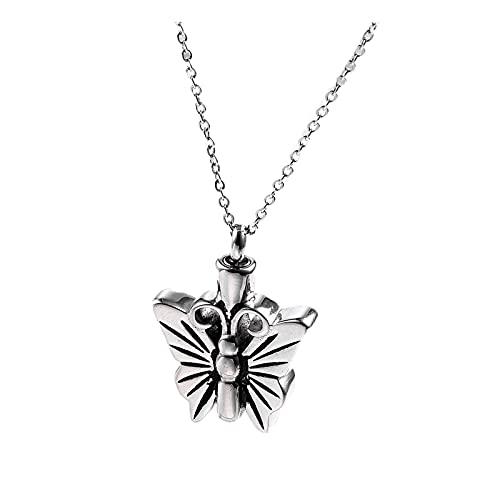 Epinki Collar de Urna de Cremación, Acero Inoxidable Collar Mariposa Plata Colgante Cremación Conmemorativo