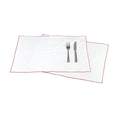 BLANC CERISE Lot de 2 Sets de Table - 100% Lin lavé-Unie - Bourdon contrasté Orange 38x48