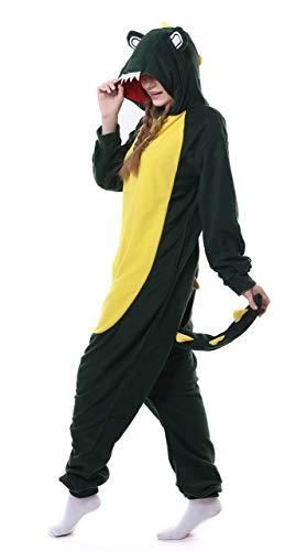 auguswu Unisex Pyjama mit Kapuze, Cartoon-Tier-Motiv Gr. Small, Grün (Green Crocodile)