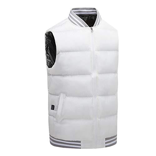 CHQY Chaleco de calefacción eléctrico, carga por USB, chaqueta caliente inteligente, 3 temperatura ajustable ocio Gilet, utilizado para invierno al aire libre pesca locomotora deportes blanco-S