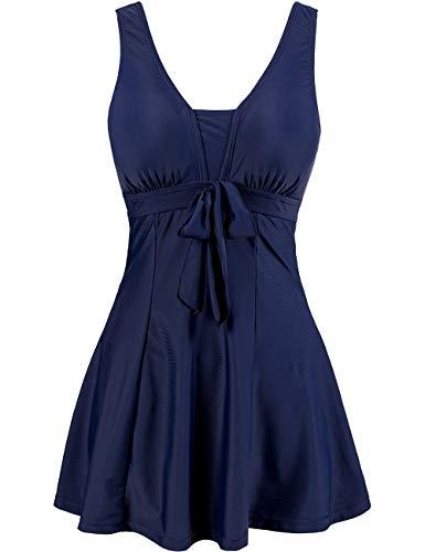 Wantdo Women's Swimsuits One-Piece Wrapped Chest Dress Swimwear Suit Beachwear Navy