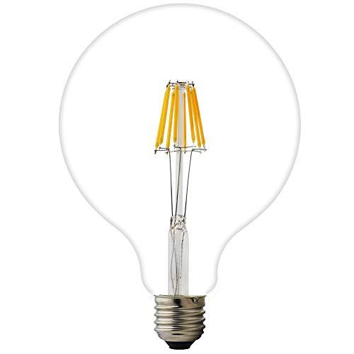 4 W 6 W 8 W G125 E27 LED filamento cristal globo AC 220 V blanco cálido 2200 K 125 mm Edison tornillo LED retro filamento globo bombilla no regulable (paquete de 1, 8 W)