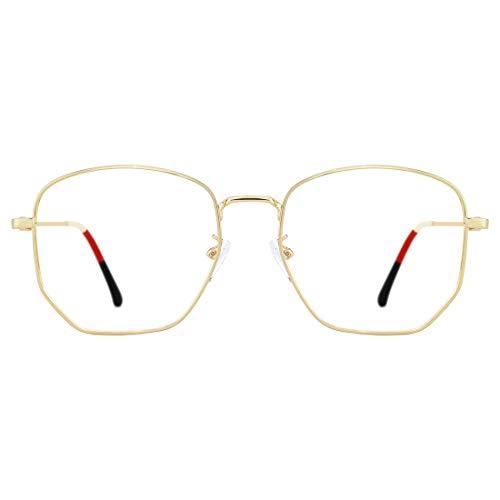 TIJN Occhiali vintage blu chiaro che bloccano l'affaticamento degli occhi Struttura irregolare in metallo sottile per donna e uomo