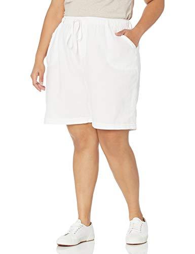 Erika Women's Elisa High Rise Pull On Faux Cuff Short, White, Large