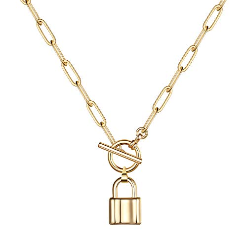 Turandoss Lock Necklace, 14K Gold Plated Padlock Necklace Dainty Link Chain Lock Pendant Necklace Mini Lock Choker Necklaces for Women