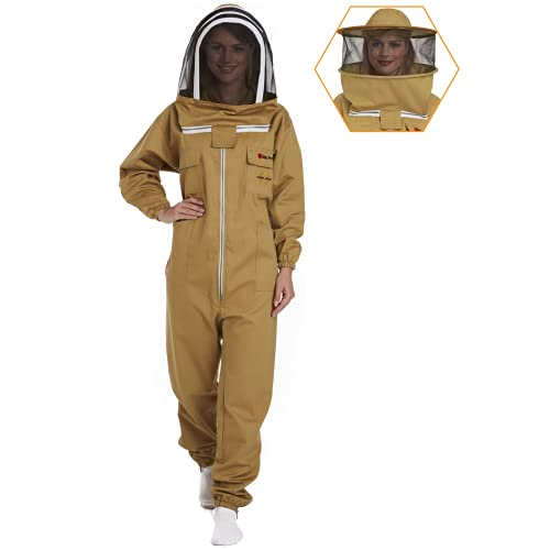 Natural Apiary Max Pro Cotton Suit Includes 2 x Non-Flammable Veils (Round & Fencing) Maximum Sting Protection for Professional & Beginner Beekeepers, LR, Khaki