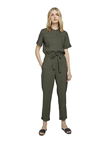 TOM TAILOR Damen Overalls & Jumpsuits Utility Jumpsuit mit Lyocell und Gürtel Grape Leaf Green,38,10669,7000