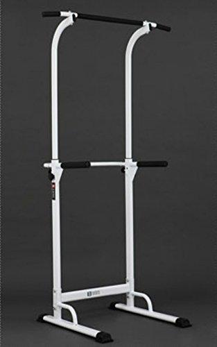 PullUp Fitness - Barra di trazione regolabile, postazione per sollevamento, con sedia romana, bianco