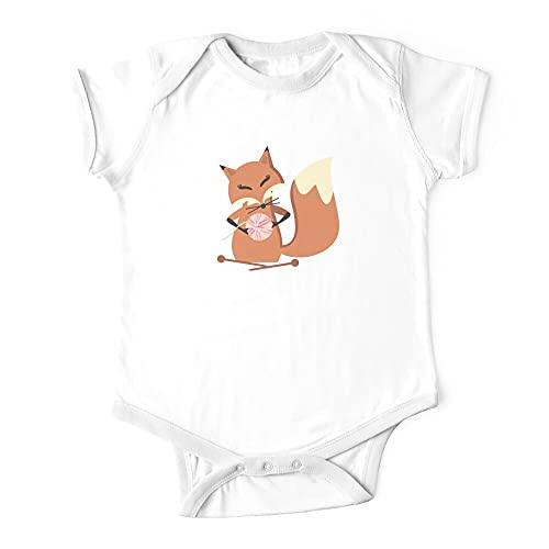 Huang Lindo Fox agujas de tejer esponjoso hilo camiseta bebé de una sola pieza bebé mono infantil