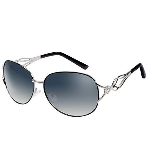 Mode Polarisierte Damen Sonnenbrille UV 400 Schutz Brille für Fahren Angeln Reisen Piloten-Sonnenbrille Flieger-Brille Frauen Unisex Sunglasses Schutzbrillen Gläser Metallrahmen Ultraleicht Brillen
