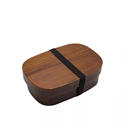 Cajas japonesas Bento de madera, caja de almuerzo hecha a mano de madera natural para sushi, cuenco, recipiente para alimentos, vajilla (A)