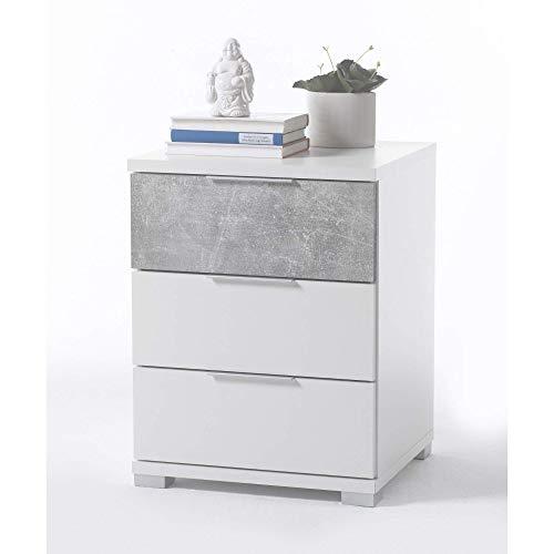 Universal Nachttisch in Weiß Betonoptik - Moderner Nachtschrank mit drei Schubladen für Ihr Boxspringbett - 46 x 61 x 42 cm (B/H/T)