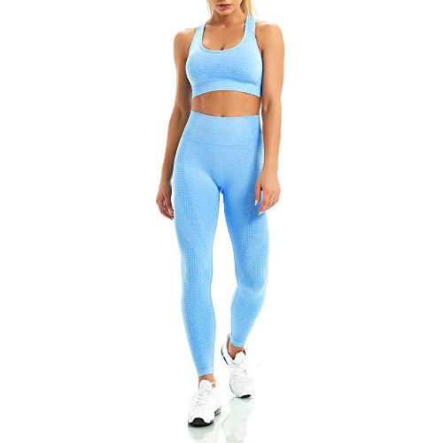WodoWei Women 2 Piece Workout Outfits Sports Bra Seamless Leggings Yoga Gym Activewear Set (YO611-navy Blue-M)