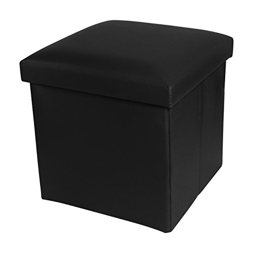 NISUNS OT01 Leather Folding Storage Ottoman Cube Footrest Seat, 12 X 12 X 12 Inches (Black)