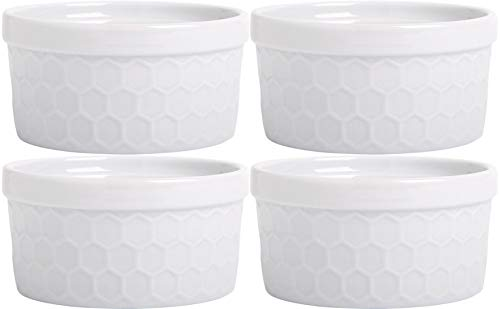 Palais Dinnerware Ramekins Collection Porcelain Soufle Dishes (8 Oz - Set of 4, White - Honeycomb Finish)