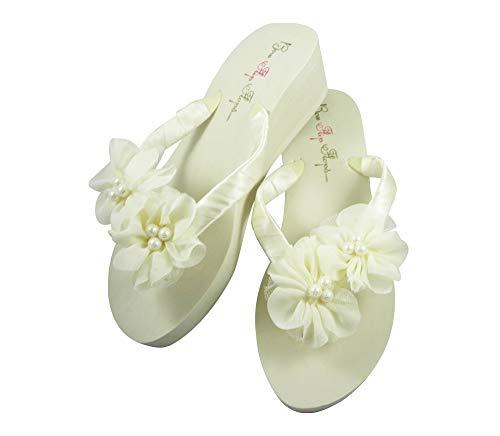 Ivory 2 inch Bridal Wedge Heel Flip Flops with Satin Ribbon Chiffon Pearl Fl owers (9)