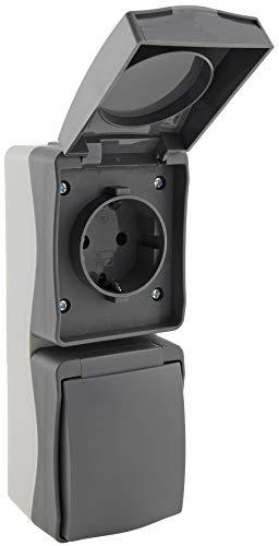 Toma de corriente doble para entornos húmedos, IP54, 2 enchufes, vertical, 250 V ~/16 A, 3600 W, entrada de cable engomado, color gris