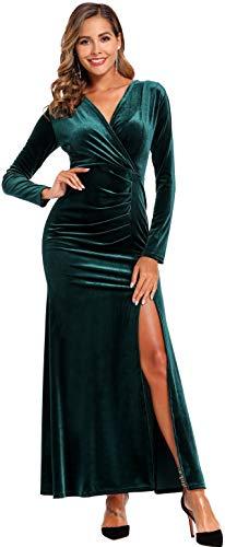 Ababalaya Cocktail Dress Long Sleeve Bodycon Wrap Maternity Velvet Dresses, Green, XL
