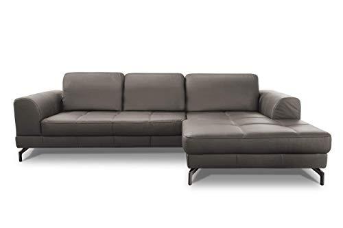 CAVADORE Ledergarnitur Benda/ Großes Ecksofa mit XL-Longchair rechts & Federkern / Inkl. Sitztiefenverstellung / 284 x 87 x 175 / Echtleder: graubraun