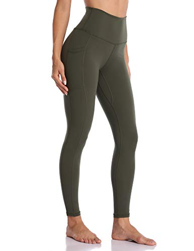 Colorfulkoala Women's High Waisted Yoga Pants 7/8 Length Leggings with Pockets(L, Olive Green)