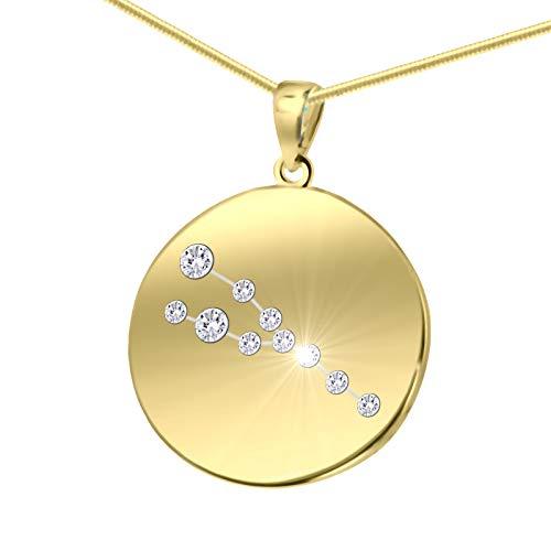 LillyMarie Damen Massive Silberkette Vergoldet Silber Gold Beschichtet Swarovski Elements Sternzeichen-Anhänger Stier Längen-verstellbar Schmucketui Geschenkideen für die Mama