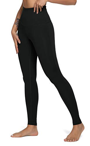 QUEENIEKE Yoga Hosen Damen-hohe Taillen Yoga Leggings mit Tasche Trainings Strumpfhosen für Laufen Fitness Farbe Schwarz Größe XL(14)