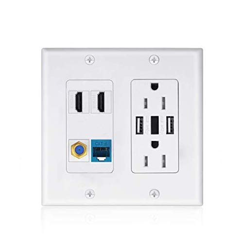 USB Outlet Wallplate Charger,2 Power Outlet 15A with Dual 3.6A USB Charger Port Wall Plate with LED Lighting, 2 HDMI HDTV + 1 CAT6 RJ45 Ethernet + Coaxial Cable TV F Type Keystone Face Plate White