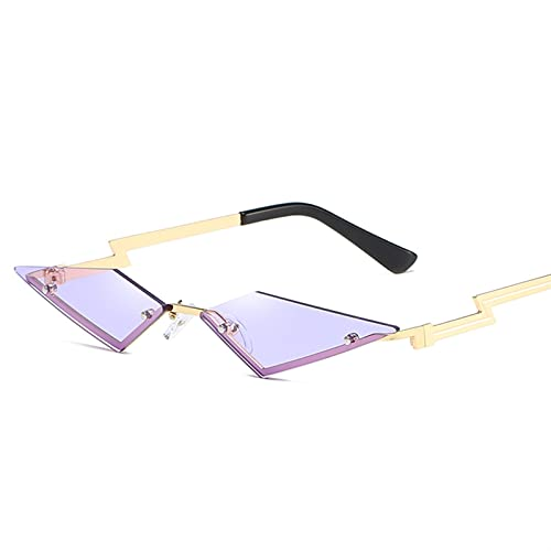 FDNFG Gafas de Sol Ojo de Gato Mujeres sin Montura Metal Vintage Gafas de Sol Señoras Sombras Triángulo Lentes UV400 Gafas de Sol (Lenses Color : Purple)
