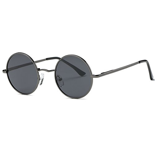 AEVOGUE Polarized Sunglasses Small Round Lens Metal Frame Retro Unisex Glasses AE0518 (Gray&Black, 47)