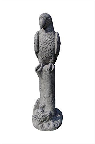 Antikes Wohndesign 2 x Papageien Figuren Steinfiguren Vogelfiguren Ara Kakadu Garten Tierfiguren