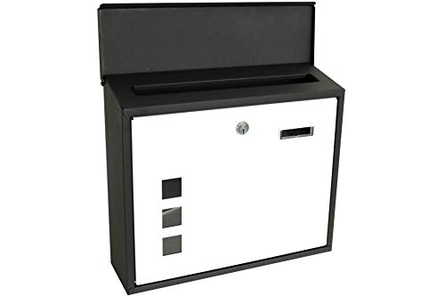 Metalen brievenbus - zwart/wit - met vensters (DSS-DS00694)