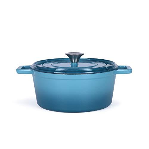 Rostiera rotonda in ghisa smaltata – Pentola con coperchio per forno – Pentola per cottura a induzione – Pentola 4 litri – Pentola per pane da 24 cm – adatto al forno fino a 250 gradi – Blu