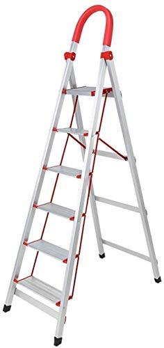 WYKDL Rango de Trabajo escalera con plataforma plegable del hogar taburete de paso ancho pedal robusto Escalera del Mango antideslizante aleación de aluminio del hogar Escalera Escalera plegable plega