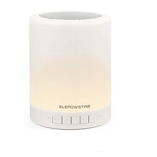 Lampada Altoparlante Bluetooth, ELEPOWSTAR Lampada da Comodino Touch Dimmerabile 7 Colore & 3 Leva di Luminosità, Cassa Portatile Bluetooth FM Audio Micro SD Card USB, Lettore MP3, Chiamate Vivavoce