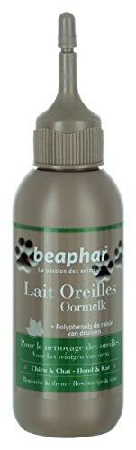Beaphar Leche Limpiador Premium para Orejas del Perro y el Gato – con polifenoles de UVA, extractos de Romero y Thym – Limpia Suavemente Las Orejas y Elimina impurezas, 125 ml