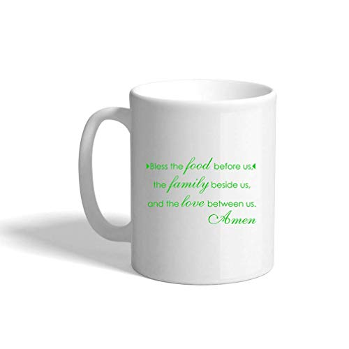 VTXINS Green Bless Food Before Us Family Beside Love Between US # 2 Ceramic Coffee Cup White Mok