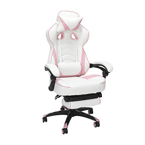 RESPAWN 110 Racing Style Gaming Chair, Reclining Ergonomic Leather Chair with Footrest, in Pink (RSP-110-PNK) chair gaming pink